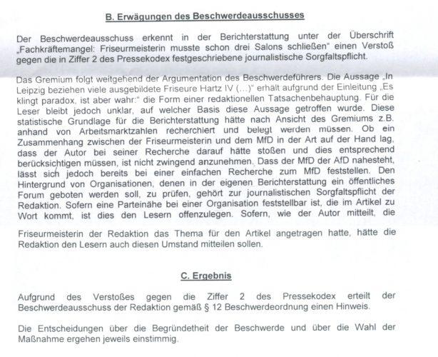 Die Entscheidung des Presserates. Foto: Screen Schreiben Presserat