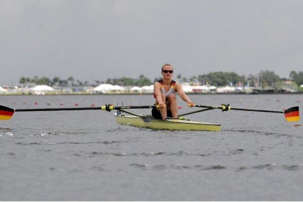 Johanna Reichardt rudert zu Silber im Leichtgewichts-Einer. Foto: Deutscher Ruderverband / Detlev Seyb