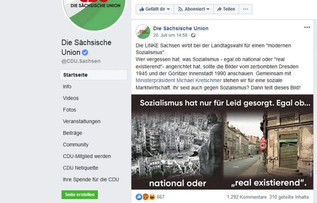 National. Sozialismus. Egal: Dabei sein ist alles. Screen CDU Sachsen bei Facebook