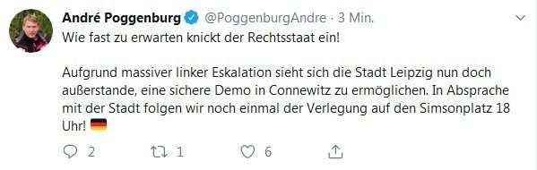 Connewitz adé auch am 17. Juli 2019. Screen Twitter