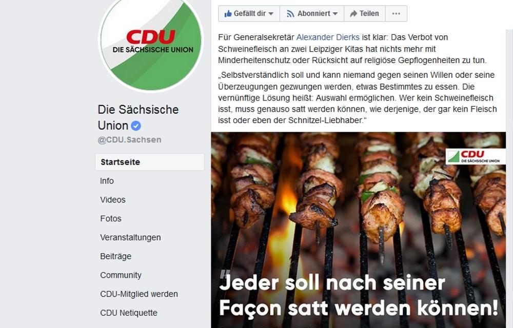 Satt werden? Es geht um das Schnitzel, ja die Wurst. Screen Facebook CDU Sachsen