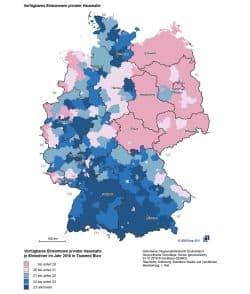 Einkommensunterschiede in Deutschland. Karte: BMI, Deutschlandatlas
