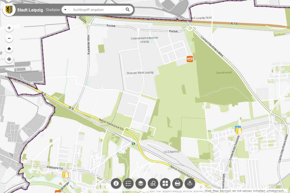 Der städtische Raum um das Güterverkehrszentrum. Karte: Stadt Leipzig