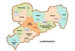 Die Landkreisstruktur nach der Kreisreform von 2008. Grafik: Freistaat Sachsen