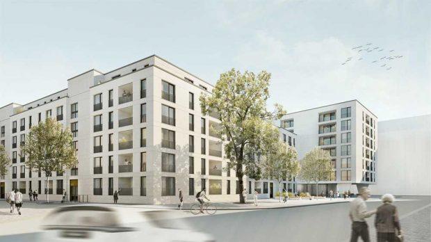 LWB Neubauvorhaben an der Quer-, Litt-, Schützenstraße. Visualisierung: IPROconsult GmbH