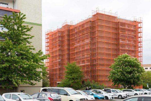 Aktuelle Sanierung im Dölziger Weg 4 in Schönau. Foto: Peter Usbeck, LWB