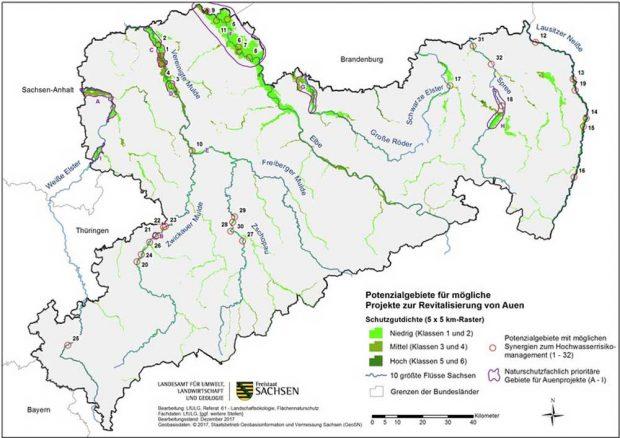 Die Potenzialkulisse der sächsischen Flussauen. Karte: Freistaat Sachsen., LfULG