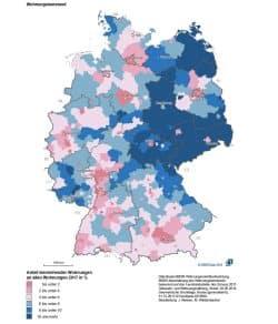 Wohnungsleerstand in Deutschland. Karte: BMI, Deutschlabndatlas