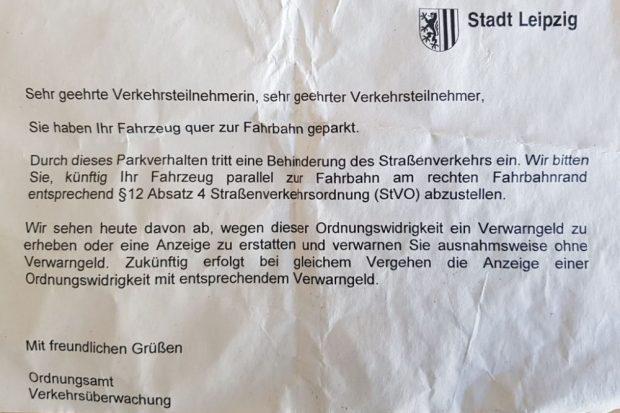Die Nachricht vom Ordnungsamt. Foto: Karli.blog/Alexander Laboda