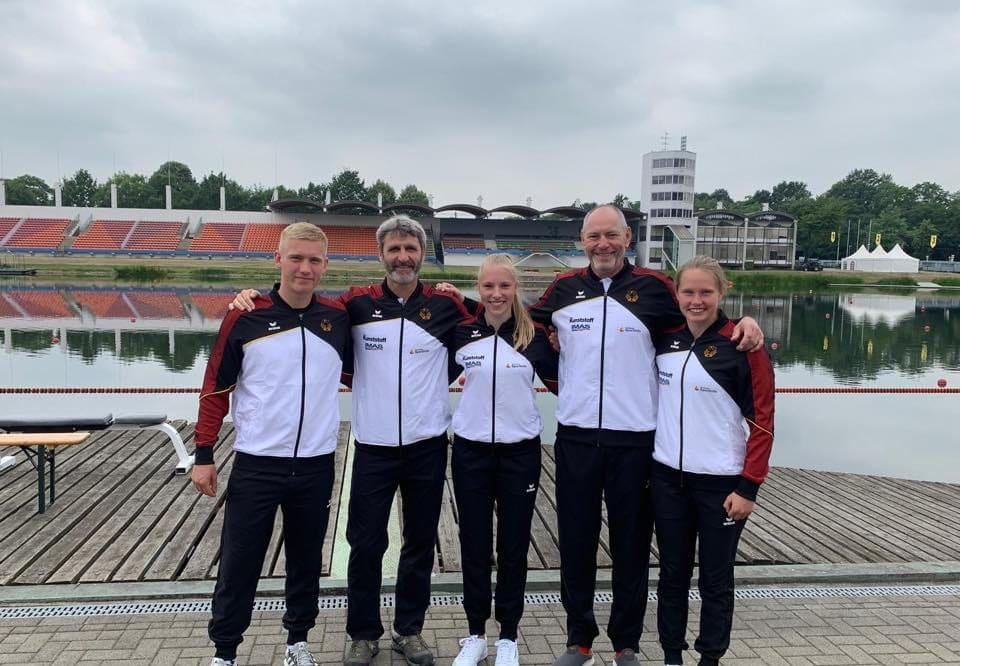 Bruno Scheibner, Trainer Gunar Kirchbach, Celina Sandau, Trainer Olaf Heukrodt und Marie Thielemann. Quelle: privat
