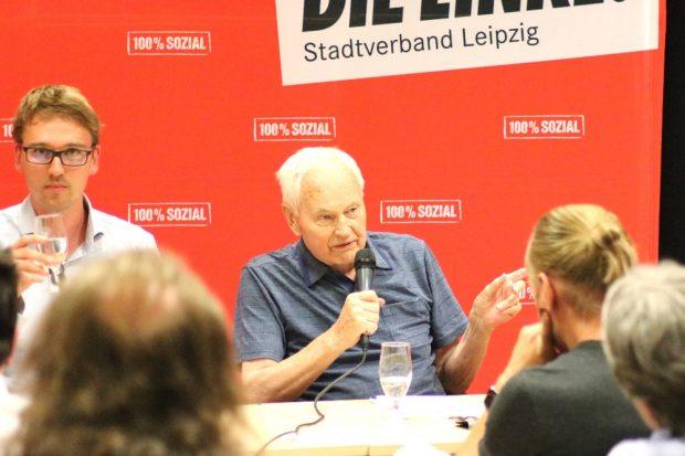 Der 91-jährige Hans Modrow, letzter Ministerpräsident der DDR, zu Gast in Leipzig. © Michael Freitag