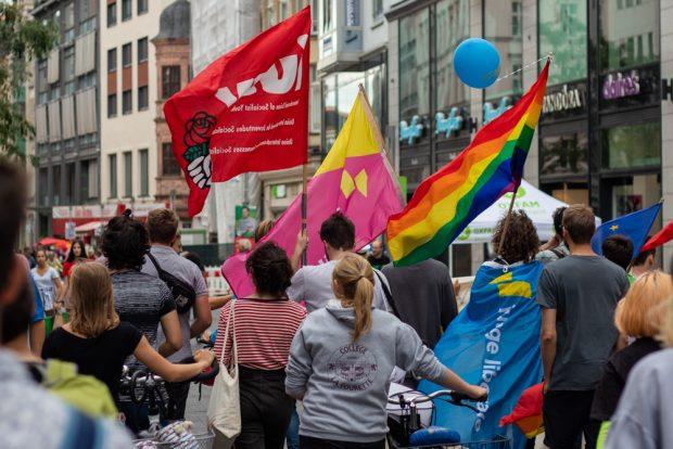 Jusos, Linksjugend und Julis demonstrierten gemeinsam. Foto: Tobias Möritz