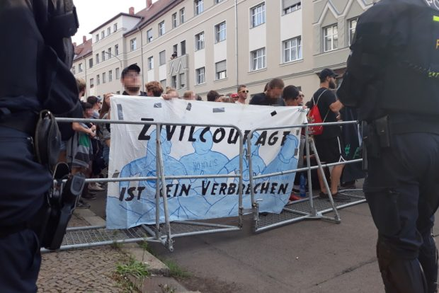 Protest gegen Poggenburg. Foto: René Loch