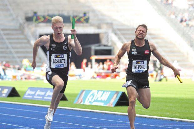 Marvin Schulte (DHfK) hielt der Attacke von Michael Pohl (Wetzlar) - frisch gebackener Deutscher Meister über 100 Meter - stand und sicherte Gold für Leipzig. Foto: Jan Kaefer
