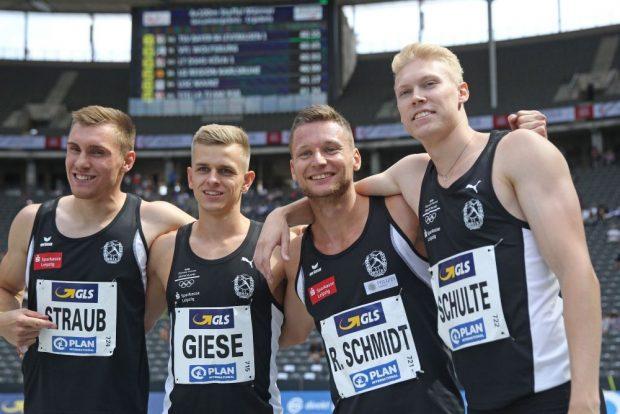Die Gold-Staffel des SC DHfK: Felix Straub, Niels Torben Giese, Roy Schmidt, Marvin Schulte. Foto: Jan Kaefer