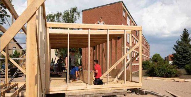 Baustand des neuen Bauhaus-Gebäudees in Dessau am 3. August. Foto: Uni Kassel