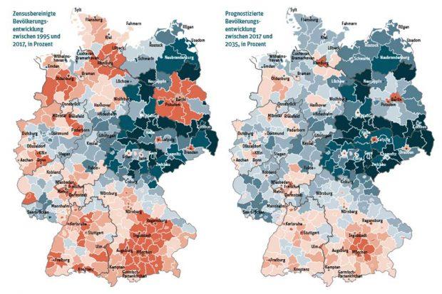 Demografische Entwicklung in Deutschland. Karte: Berlin-Institut, Teilhabeatlas
