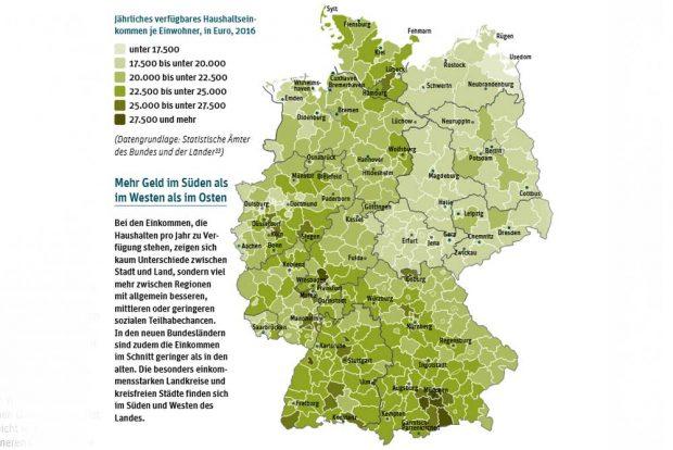 Die Einkommensverteilung in Deutschland. Karte: Berlin-Institut, Teilhabeatlas