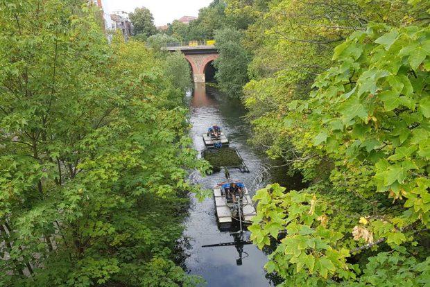 Entkrautungsboote im Karl-Heine-Kanal. Foto: Marko Hofmann