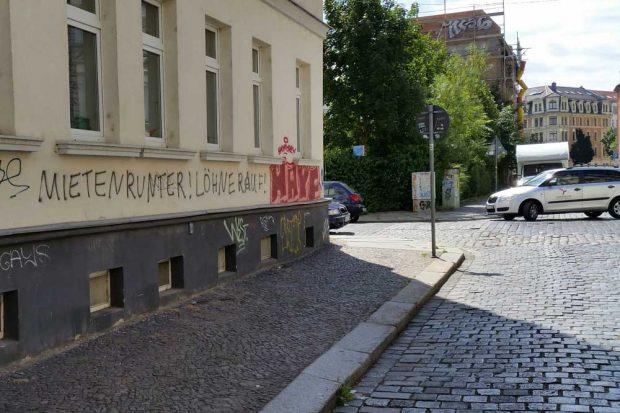 Klare Ansage in Lindenau. Foto: Marko Hofmann