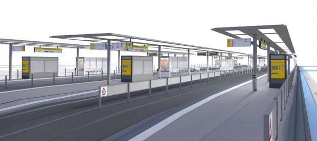 So soll die Haltestelle Hauptbahnhof nach der Renovierung aussehen. Visualisierung: LVB