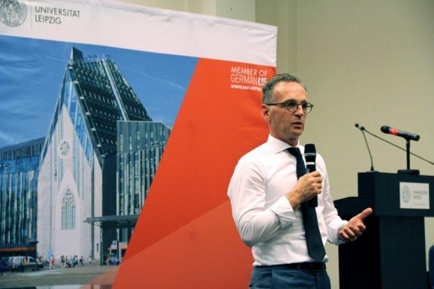 Außenminister Heiko Maas zu Gast im Konferenzsaal der Universitätsbibliothek Bibliotheca Albertina. Foto: Leonie Asendorpf