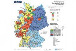 Die im Nationalatlas veröffentlichte Karte zu den Raumtypen bei der Europawahl. Karte: IfL, Nationalatlas