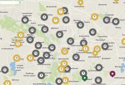 Ausschnitt aus der digitalen Karte zur Zwangsarbeit. Screenshot: Gedenkstätte für Zwangsarbeit Leipzig