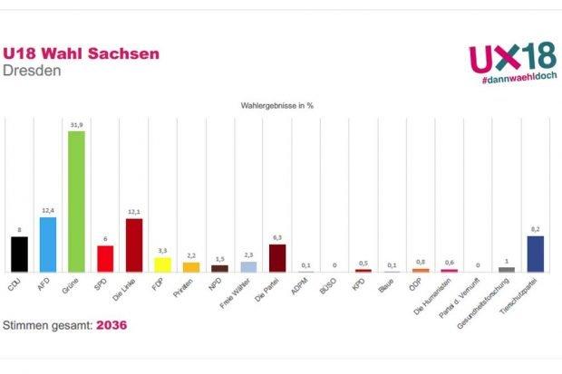 Das U18-Wahlergebnis in Dresden. Grafik: Stadtjugendring Leipzig