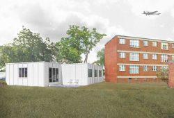 Visualisierung des Projekts mit Ansicht eines Laubenganghauses. Foto: Uni Kassel