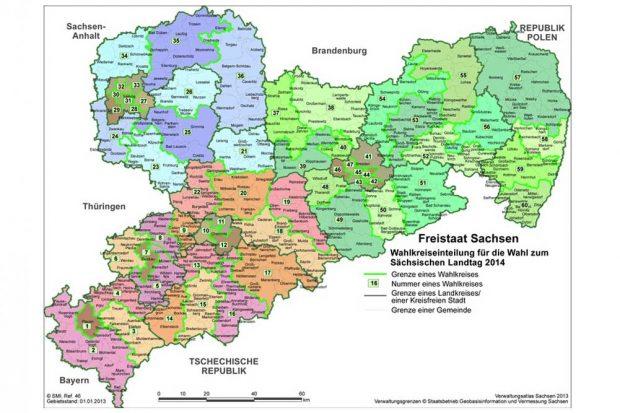 Die Wahlkreise zur Landtagswahl 2014 und auch 2019. Karte: Freistaat Sachsen, Landesamt für Statistik