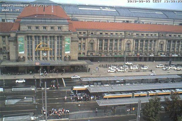 Aufnahme der LVB-Webcam von der Haltestelle Hauptbahnhof. Screenshot: L-IZ