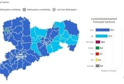 Die aktuelle Wahlgrafik zum Stand 1.09., 23:45 Uhr in Sachsen. CDU-AfD-Land mit kleinen Punkten. Bild: sachsen.wahlen