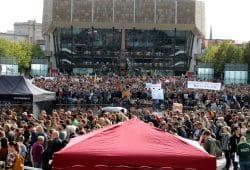 Der Augustusplatz am Anfang des Klimastreiks in Leipzig. Foto: L-IZ.de