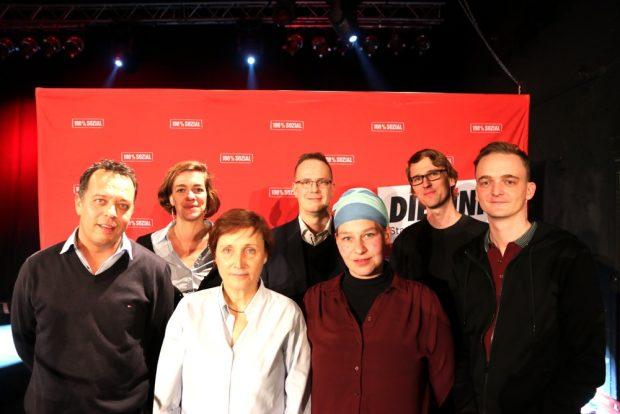 Die Leipziger Direktkandidaten aus Leipzig. Franz Sodann, Juliane Nagel, Beate Ehms, Marco Böhme, Angela Fuchs, Adam Bednarsky und Marco Böhme. Foto: L-IZ.de
