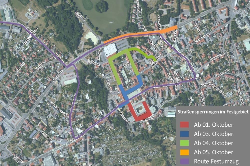 Straßensperrungen Landeserntedankfest. Quelle: Stadtverwaltung Borna