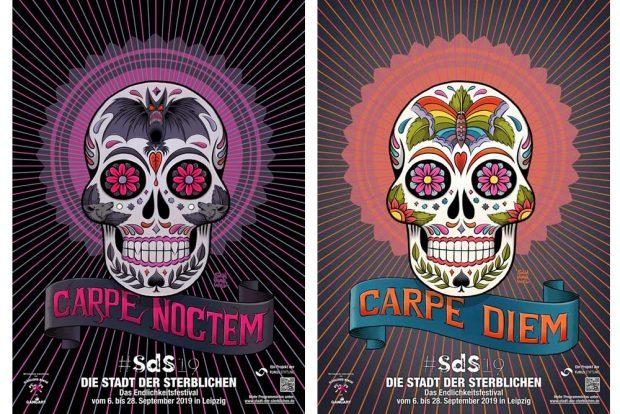 """Plakate zur """"Stadt der Sterblichen"""": """"Carpe diem"""" und """"Carpe noctem"""". Grafik: Schwarwel"""