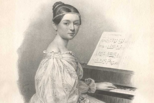 Clara Wieck als 16-Jährige am Klavier sitzend, Lithografie von Julius Gierre, 1835. Foto: Stadtgeschichtliches Museum Leipzig
