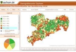 Altersdurchschnitt in den sächsischen Regionen 2018. Grafik: Freistaat Sachsen, Demografiemonitor