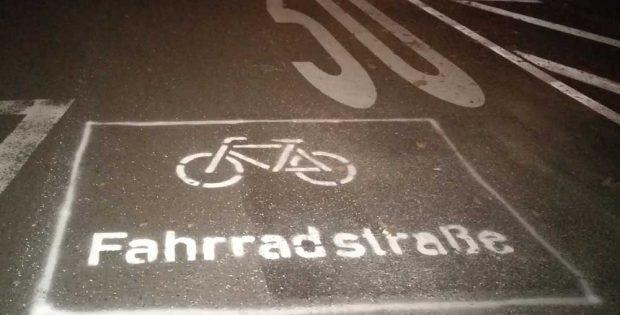 Markierung für die Fahrradstraße Dittrichring. Foto: Lucy & Pierre