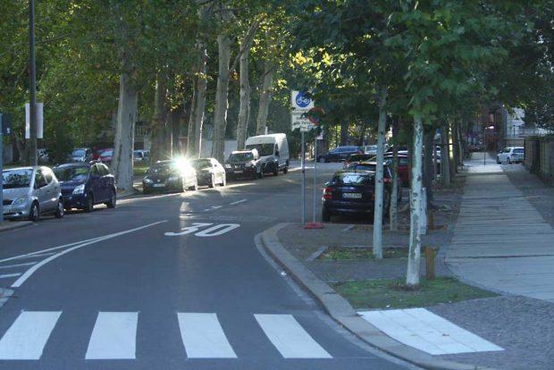 """Erst im letzten Moment taucht das Schild """"Fahrradstraße"""" hinter den Blättern des Baumes auf. Dafür sieht man groß auf dem Asphalt """"Tempo 30"""". Foto: Ralf Julke"""