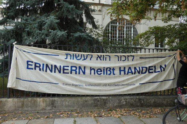 Eine Demo für Zuversicht vom Initiativkreis 9. November gab es schon gegen 17 Uhr in der Wächterstraße. Foto: L-IZ.de