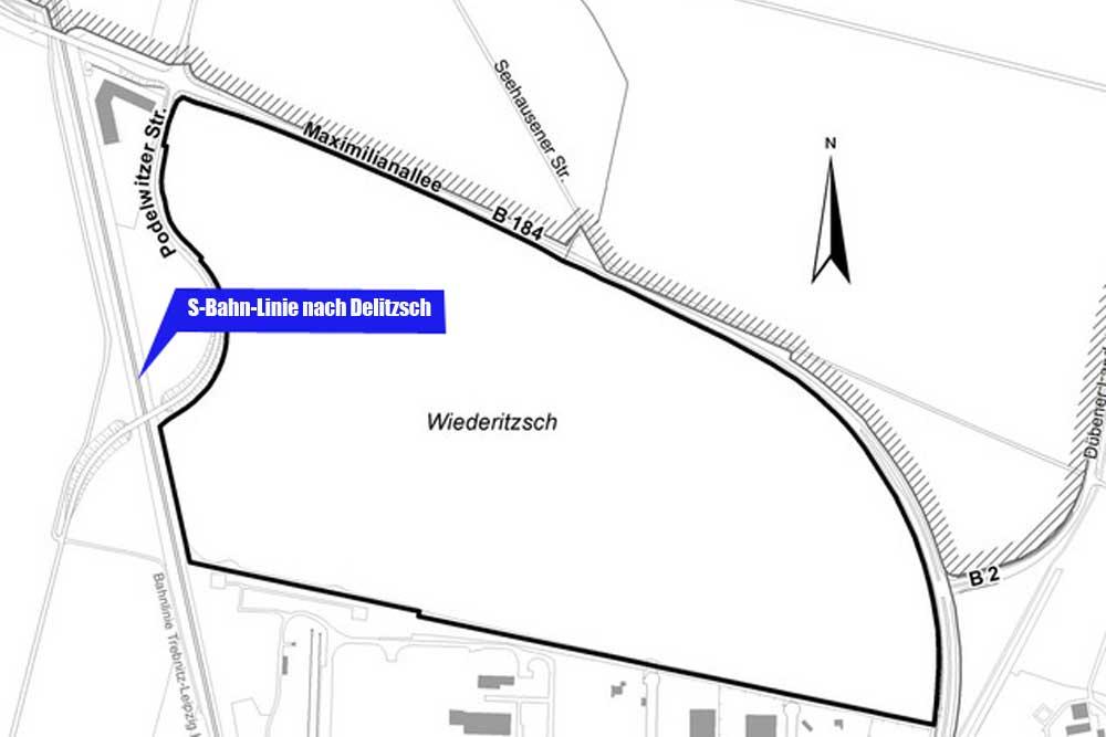 Das Plangebiet für das neue Industriegebiet Seehausen II. Karte: Stadt Leipzig