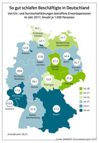 Diagnostizierte Schlafstörungen nach Bundesländern. Grafik: Barmer