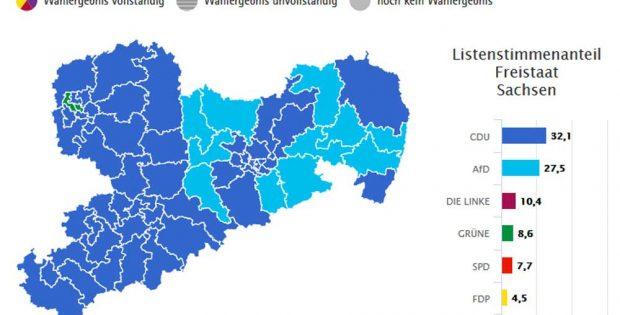 Die Zweitstimmen-Sieger in den sächsischen Wahlkreisen. Grafik: Freistaat Sachsen, Landesamt für Statistik