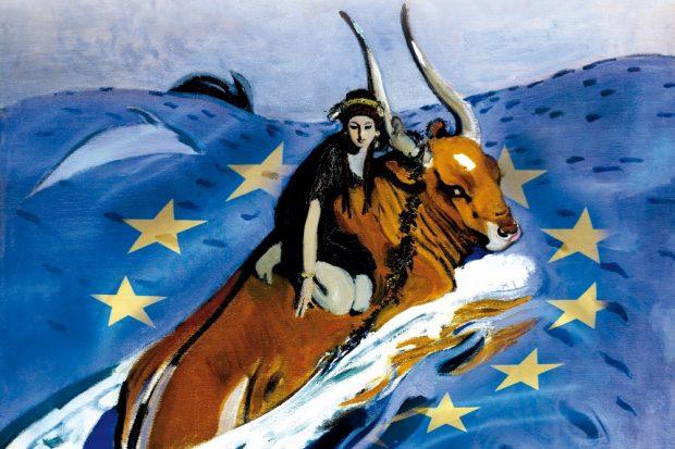 """""""Die Entführung Europas"""" – Montage aus dem Gemälde """"Der Raub der Europa"""" von Walentin Alexandrowitsch Serow (1910) und der Europaflagge. Quelle: HTWK Leipzig"""