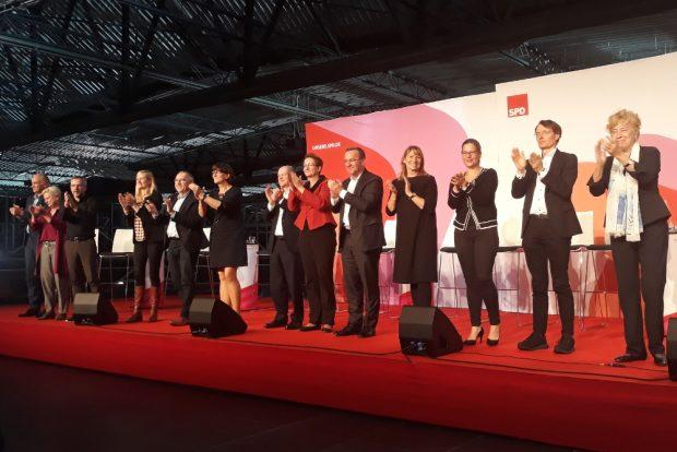 Das SPD-Podium bei der Regionalkonferenz am 10. Oktober in Dresden. Foto: René Loch