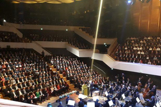 Bundespräsident Frank-Walter Steinmeier bei seiner Rede im Gewandhaus. Foto: René Loch