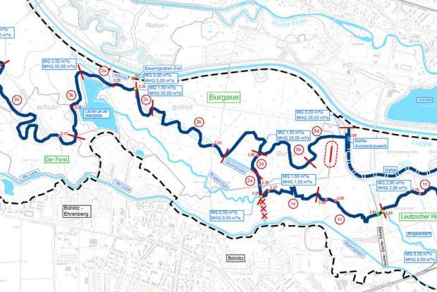 Ausschnitt des Projektgebiets Burgaue mit den Vorzugsvarianten. Derf durchkreuzte Bachverlauf soll rückgebaut werden. Karte: Stadt Leipzg