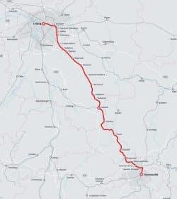 Der geplante Streckenverlauf der Trasse Leipzig - Chemnitz. Karte: Deutsche Bahn